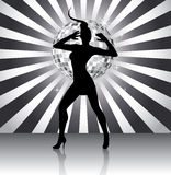 De koninginsilhouet van de disco Royalty-vrije Stock Fotografie