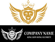 De konings vliegend embleem van de voorraadleeuw Stock Afbeelding