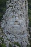 De koningsgezicht van Daciandecebal s dichtbij Cazane op de Donau Royalty-vrije Stock Fotografie