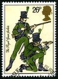 De Koninklijke Groene Jasjes Britse Postzegel Stock Foto