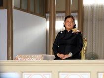 De koninklijke Hoogheidprinses Maha Chakri Sirindhorn woont begrafenischumphon-sinlapa-a-Cha op Thepsirin-tempel bij Stock Foto's