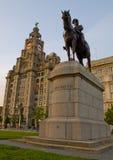 De Koninklijke Lever die op Pierhead bij Liverpool, het UK en Ruiterstandbeeld van Koning Edward VII voortbouwen Royalty-vrije Stock Foto's