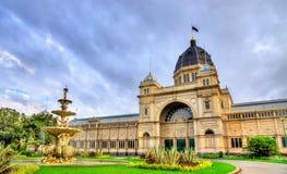 De koninklijke Tentoonstellingsbouw, een Unesco-plaats van de werelderfenis in Melbourne, Australië Stock Foto's