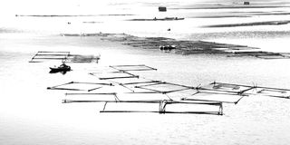 Sketch Fish Cage in Lishui River Royalty-vrije Stock Afbeeldingen