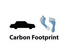 De koolstofvoetafdruk van de auto Stock Afbeelding