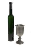 De kop en de fles van de wijn Stock Afbeeldingen