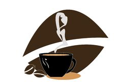 De kop en de rook van de koffie Stock Foto's