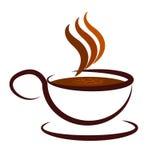 De kop en de Schotel tonen Koffiepauze en Koffie Stock Foto