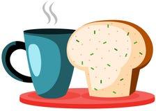 De kop en het brood van de koffie Stock Afbeeldingen