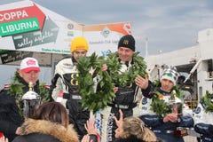 De Kop Liburna, winnaars, podiumteam van de Verzameling van het asfalt Stock Foto