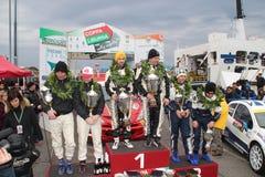 De Kop Liburna, winnaars, podiumteam van de Verzameling van het asfalt Stock Afbeelding