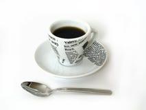 De kop van Coffe met lepel Stock Afbeelding
