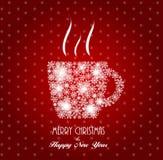 De Kop van de achtergrond Kerstmiskoffie Vector Royalty-vrije Stock Fotografie