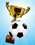 De kop van de concurrentie en voetbalbal Stock Foto's