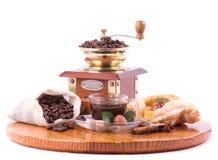 De kop van de koffie, koffiemolen Royalty-vrije Stock Foto's