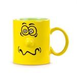 De kop van de koffie met een grijns stock afbeeldingen