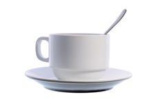 De kop van de koffie met een lepel Stock Afbeeldingen