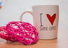 De kop van de koffie met hart Stock Afbeelding