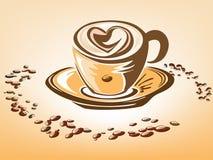 De kop van de koffie met hart op het schuim Royalty-vrije Stock Fotografie