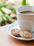 De kop van de koffie met koekje. stock foto