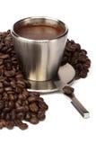 De kop van de koffie met koffiebonen Royalty-vrije Stock Foto's