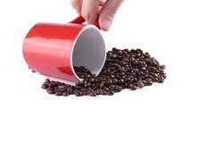 De kop van de koffie op geroosterde koffiebonen Royalty-vrije Stock Foto