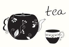 De kop van de thee en theepotmenu Stock Foto