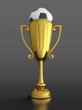 De kop van de trofee met voetbalbal Royalty-vrije Stock Afbeeldingen