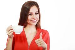 De kop van de vrouwenkoffie stock fotografie