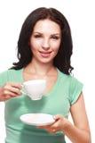 De kop van de vrouwenkoffie stock afbeelding