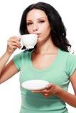 De kop van de vrouwenkoffie stock afbeeldingen