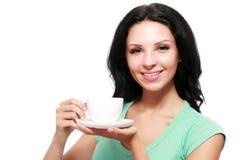 De kop van de vrouwenkoffie royalty-vrije stock foto