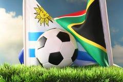 De Kop van de wereld 2010 Uruguay versus Zuid-Afrika Stock Foto's