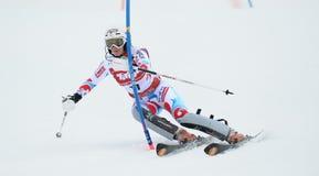 De Kop van FIS Europa - de Slalom van Vrouwen stock foto