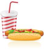 De kop van het document met soda en hotdog Royalty-vrije Stock Foto's