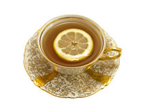 De kop van het porselein met thee en citroen royalty-vrije stock fotografie