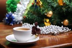 De kop van Kerstmis van koffie Stock Afbeeldingen