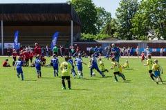 De kop van de kinderen van het Shitikvoetbal, in 19 van Mei 2018, in Ozolnieki, Letland stock fotografie