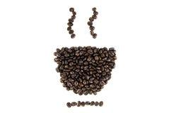 De kop van koffiebonen op achtergrond Stock Foto's