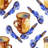 De kop van de waterverfthee en lepel naadloos patroon Hand getrokken het verpakken document ontwerp Royalty-vrije Stock Foto
