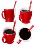 De kop van zwarte koffie, isoleert Stock Fotografie