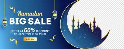 De kopbal of de banner het ontwerp van Ramadan Big Sale met 60%-korting biedt, silhouet van maan met moskee aan vector illustratie