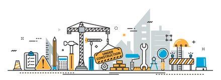 De kopbalbanner van het de bouw in aanbouw proces voor landende pagina stock illustratie