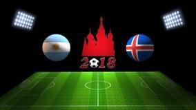 De Kopgelijke 2018 van het wereldvoetbal in Rusland: Argentinië versus IJsland, I vector illustratie