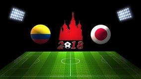 De Kopgelijke 2018 van het wereldvoetbal in Rusland: Colombia versus Japan, in 3 royalty-vrije illustratie