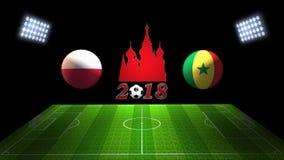De Kopgelijke 2018 van het wereldvoetbal in Rusland: Polen versus Senegal, in 3 stock illustratie