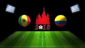 De Kopgelijke 2018 van het wereldvoetbal in Rusland: Senegal versus Colombia, binnen royalty-vrije illustratie