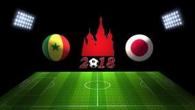 De Kopgelijke 2018 van het wereldvoetbal in Rusland: Senegal versus Japan, in 3D royalty-vrije illustratie
