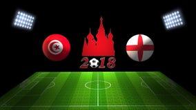 De Kopgelijke 2018 van het wereldvoetbal in Rusland: Tunesië versus Engeland, binnen vector illustratie