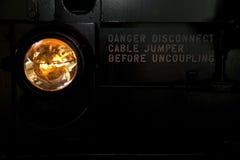 De koplamp van de trein en het ontkoppelen van instructies stock fotografie